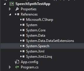 Adding the System.Speech assembly to the project.