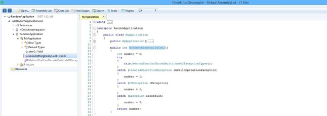 JustDecompile Showing Exception Handling Structure.