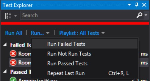 Failed Tests in the Test Explorer Window.