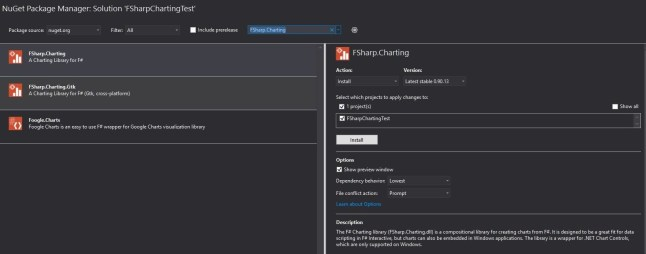 Nuget Package Manager F# Charting Search.