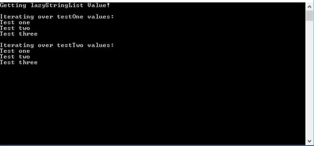 Console output from a test using Lazy objects statically.
