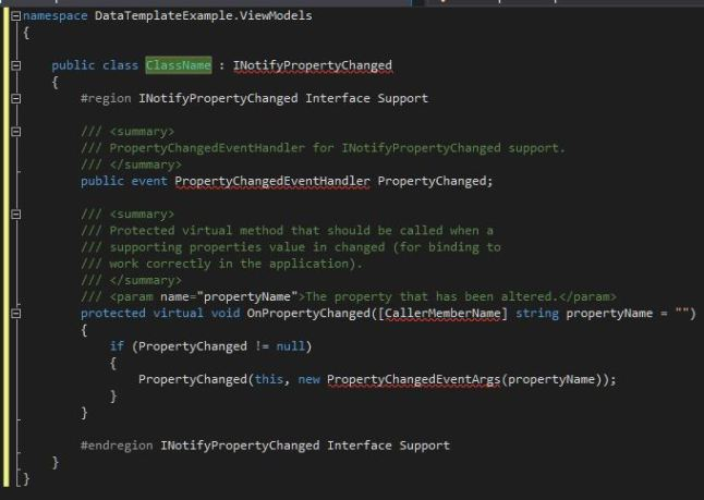 Shows a code file after using the partial custom snippet.