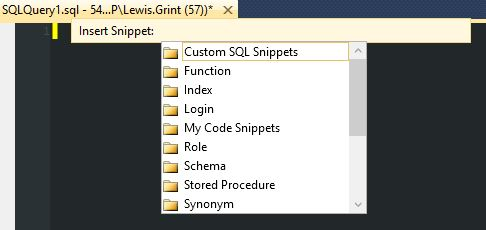 Shows the results of adding a Custom Snippets Folder.