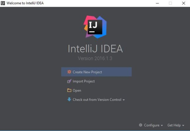 IntelliJ Start Screen.
