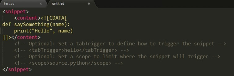 Image showing the default setup for a snippet in Sublime Text 3.
