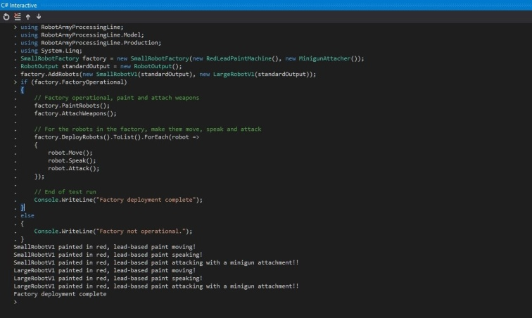 Example of using Project Code from C# Interactive.