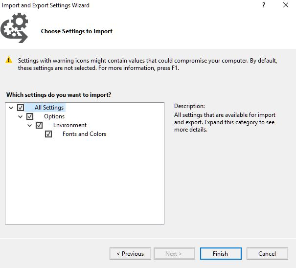 Image showing the confirm and finish SSMS theme dialog.