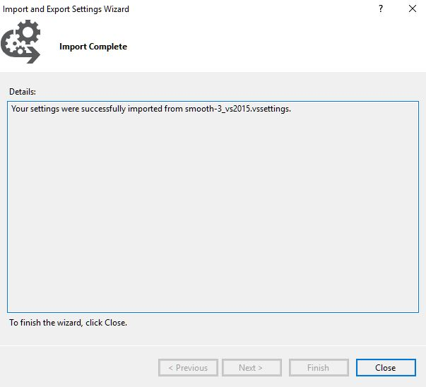 Image showing a theme import complete dialog in SSMS.