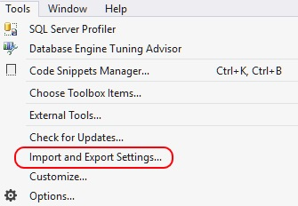 Image showing the Import and Export settings on the Tools menu in SSMS.