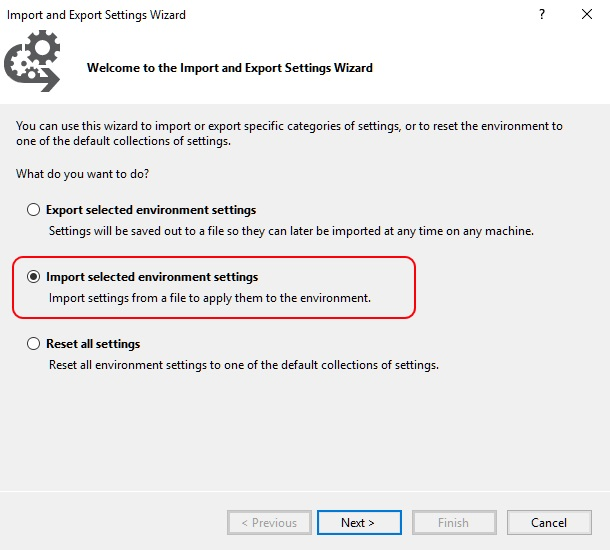 Image showing a dialog in SSMS allowing importing of custom themes.