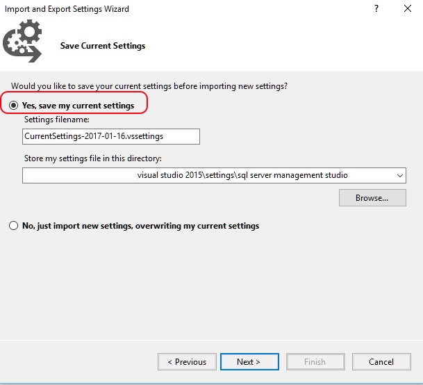 Image showing how to save the current settings in SSMS.
