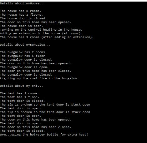 Home instances output.