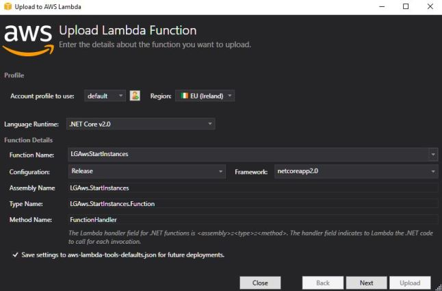 Upload Lambda Function.