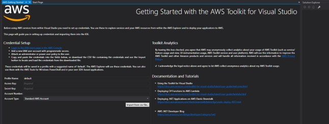 AWS Toolkit Credential Setup.